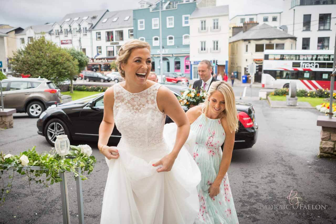 Bride arriving at her wedding in Galway