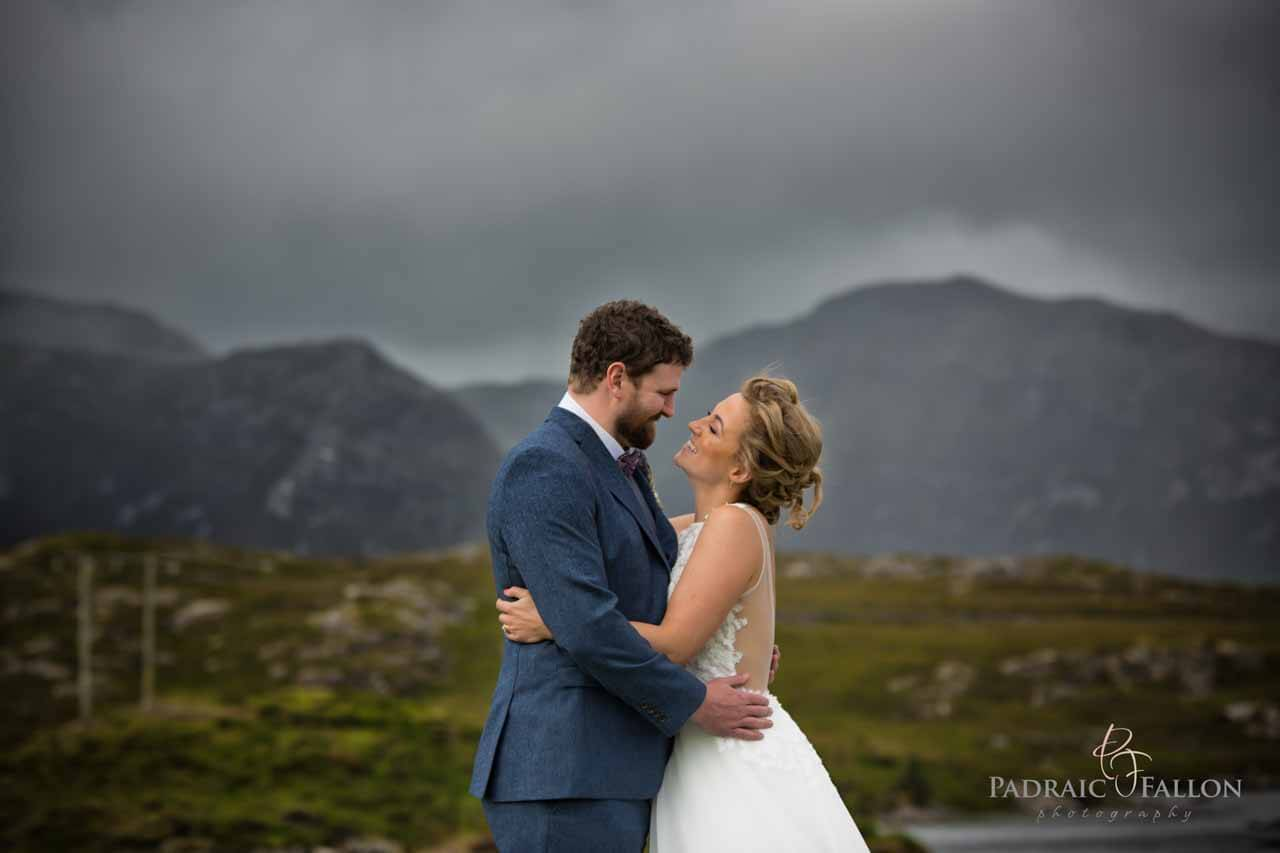 A hug on their wedding day galway photography