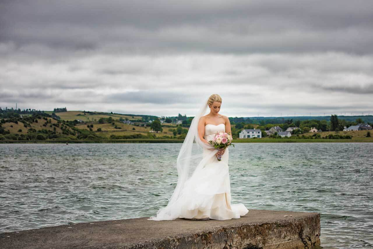 Bride posing on her big day in Loughrea