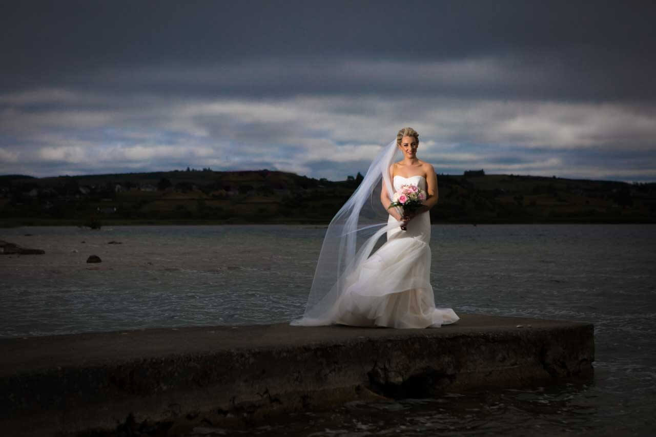 Off camera flash on her wedding day in Loughrea