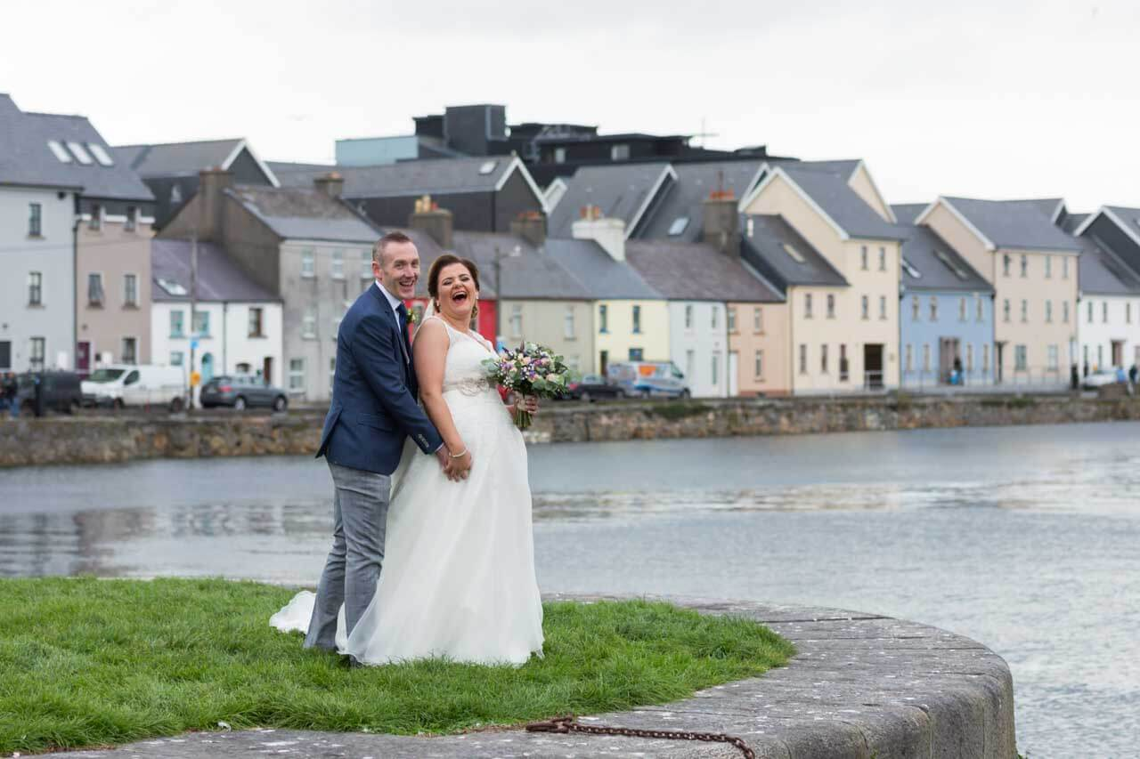 Bride & Groom having a laugh in Galway