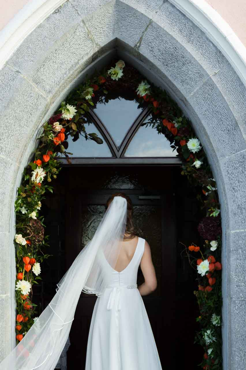 Bride at the church in Loughrea photography