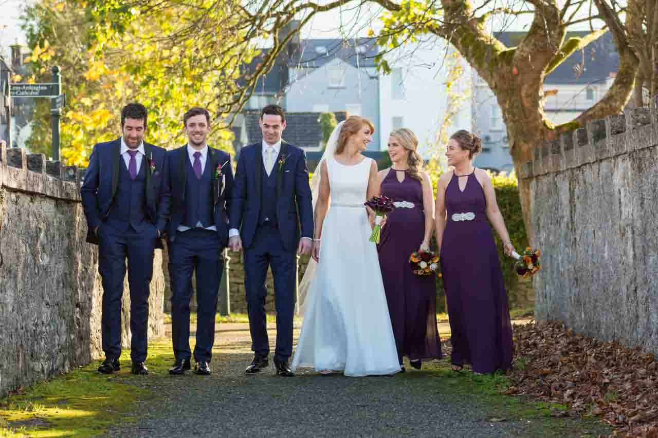Bridal party walking photography
