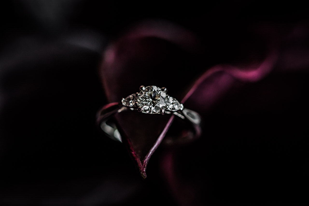 Stunning wedding photography detail ring macro shot